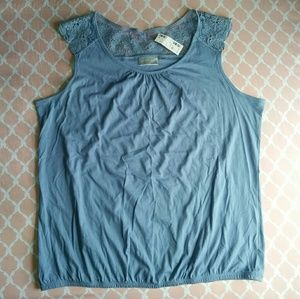 NWT Avenue Baby Blue Lace Tank Top Plus Size 22/24